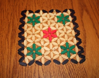 Wooden Trivet - Beaded Look with Red, Green and Blue 1950's