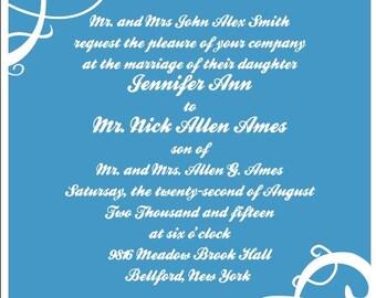 Simple Swirls Wedding Invitation Card