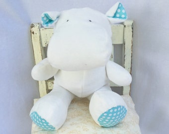 stuffed hippopotamus - minky toy - quiet church toy - soft stuffed hippo - adoption celebration - Christening gift - customized soft toy