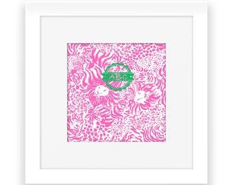 Monogram Wall Art Typography Printable, Monogram Print, Digital Printable, Custom Letters, Lion, Lilly, Art, Pink , Green, Preppy,