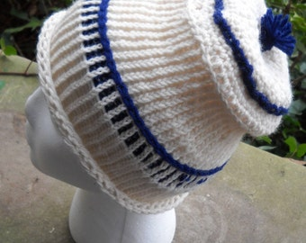 Sea Blue and White Knitted and Crocheted Cap