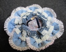 Handmade recycled denim jeans brooch pin flower