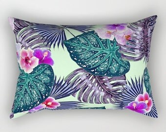 Purple Green Pillow, Tropical Home Decor, Green Throw Pillow, Hollywood Glam Accent Pillow, Tropical Leaf Pillow, Leaf Print Lumbar Pillow