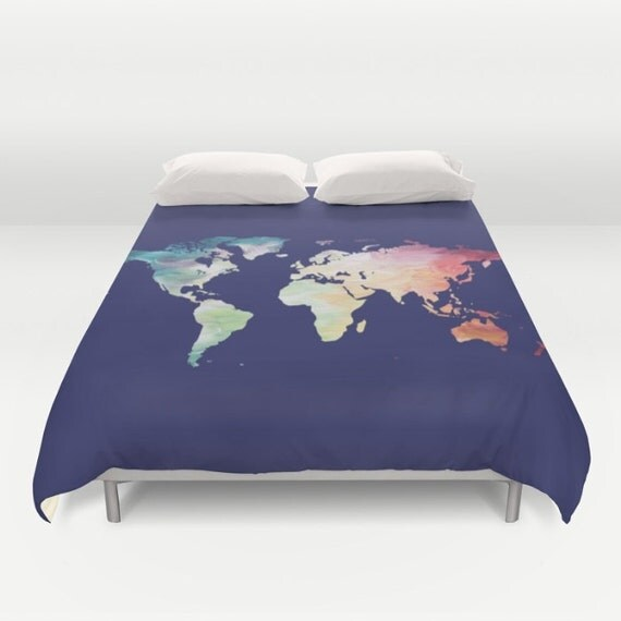 World Map Duvet Cover Navy Comforter Full Queen by OlaHolaHolaBaby