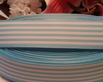3 yards 1' light blue and white stripes grosgrain ribbon