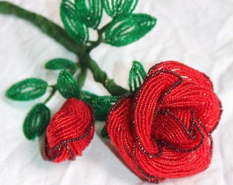 Beaded Red Rose