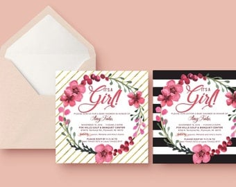 Pink and gold baby shower, Striped and Floral Shower Invitation, LASER PRINTED