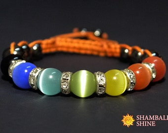 Cat eye macrame rainbow bracelet Macrame gemstone bracelet Orange macrame bracelet Rainbow quartz bracelet Multicolor stone bracelet cat eye