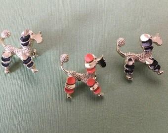 Vintage Gerry's Poodle Dog Brooch Pin - Black Tufts
