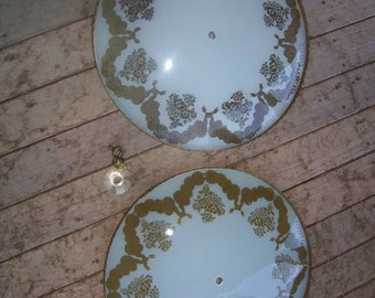2 Mid Century Ceiling Light Covers w/gold trim