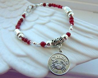 Cancer-Ruby Astrology Bracelet