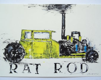 Andy Warhol Rat Rod Car, original painting on paper by Andy Shaw