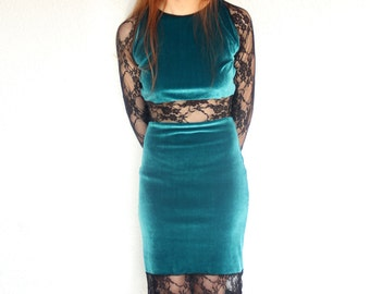 Bottle green velvet dress