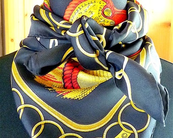 HERMES Scarf, BLack, Gold tone, Red, Vintage 1975, Entitled Epaulettes, Design Cathy Latham, HERMES Paris France, Gift Idea, Free Shipping