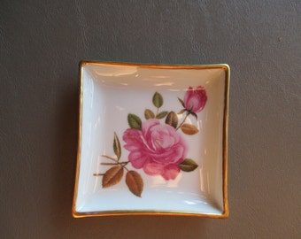 small dish with pink roses from Limoges, France