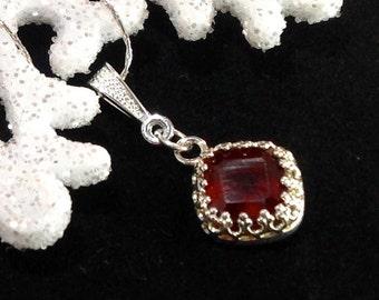 January Birthstone 3.68ct Natural  Garnet Gemstone Necklace