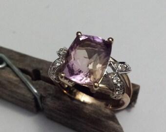 Amertrine and Diamond 9 Carat Yellow Gold Ladies Dress Ring (r7)