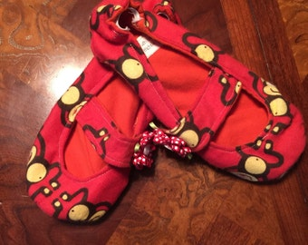 Adorable monkey Mary Jane slippers