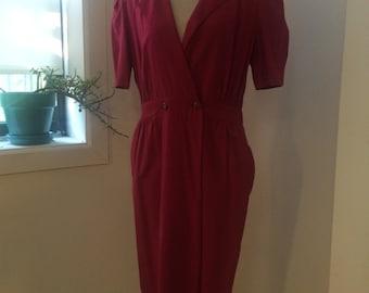 Vintage 1980's pink collard Elizabeth dress