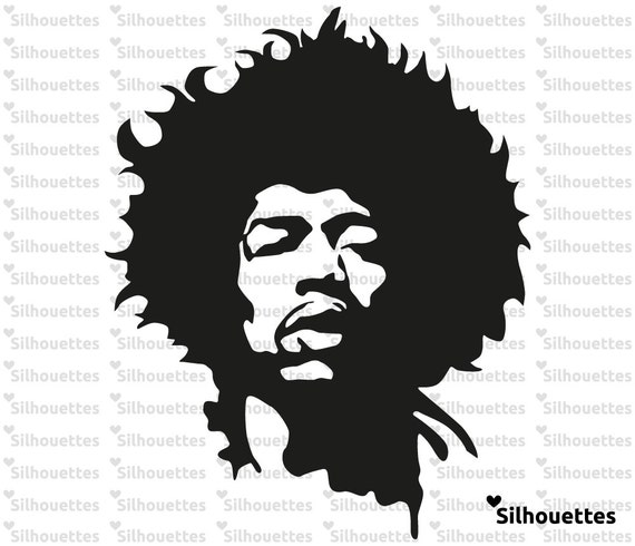 svg jimi hendrix silhouette vector file for paper and vinyl