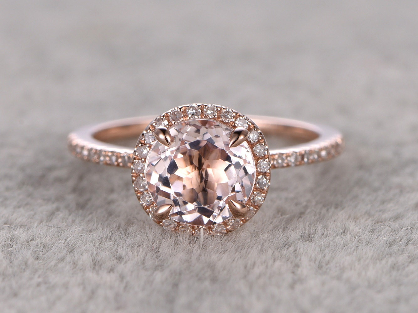 7mm Morganite Engagement Ring Rose GoldDiamond Wedding By