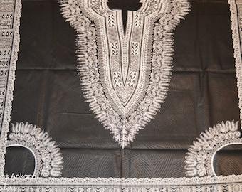 Black & White Dashiki Wax Prints African Ankara Fabric Per Panel