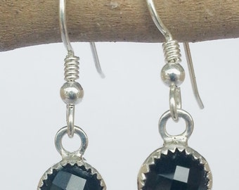 Natural Black Onyx Cabochon Silver Earrings - In Stock Now - solid 925 sterling silver, faceted checkerboard cut, handcrafted silver earring