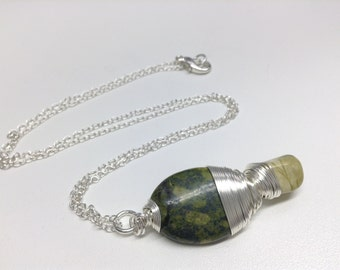 Necklace made of serpentine Cheetah (lime green and black stone)