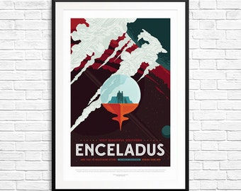 NASA Enceladus poster, Enceladus moon, Nasa Posters, Astronomy posters, Exoplanet Posters, Rocket Science, Space Laboratory, Science