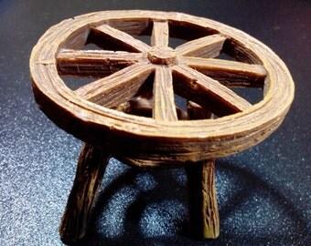 Fairy Garden Miniature Resin Table for your Fairy Garden, Wagon Wheel Table, Fairy Table, Fairy Furniture, Dollhouse, Terrarium Accessory