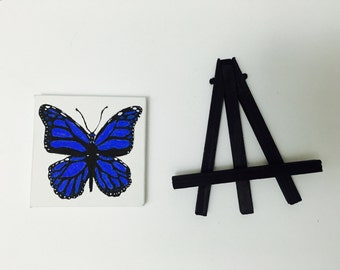 Mini Blue Monarch Butterfly Painting