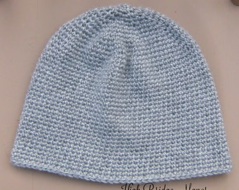 Mens crochet beanie, mens fitted hat, mens lightweight winter hat