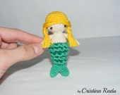 Crochet mermaid toy, small mermaid, tiny beach creature, girls mermaid gift, yellow green mermaid, soft mermaid, keychain mermaid doll