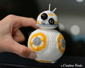 BB8 plush, robot toy, Star Wars crochet, Star Wars BB8, robot toy, BB8 amigurumi, amigurumi star wars, robot, star wars plush, funny robot