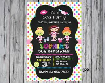 Spa Party Invitation, Spa Birthday Invitation