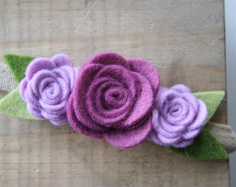 Felt Flower Crown-Baby/Toddler/Child Headband-Purple