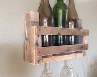 Small pallet wine rack-Liquor rack- Reclaimed wine rack- Rustic wine rack-Custom wine holder