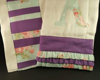 Purple and blue floral Burpcloths