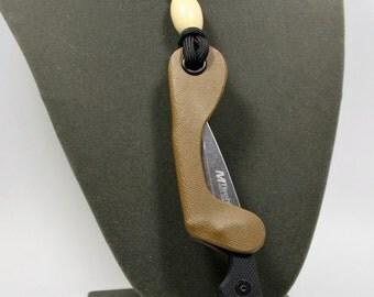 Neck Knife, Slim line EDC Knife-Carbon Fiber Black, Red or Brown.