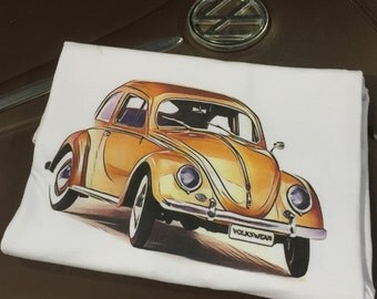 Classic Volkswagen Beetle Full Color T-shirt.  Full front print on a 100% cotton preshrunk Tee. White shirt, full color print.