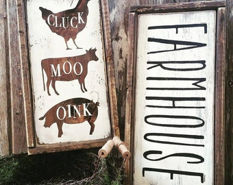Farmhouse Sign | Farmhouse Decor | Cottage Kitchen | CLUCK MOO OINK Sign | Whitewash Sign | French Country Kitchen | Farmhouse Kitchen Sign