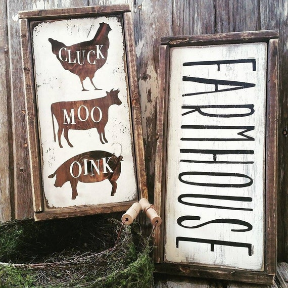 Farmhouse Sign Farmhouse Decor Cottage Kitchen CLUCK MOO