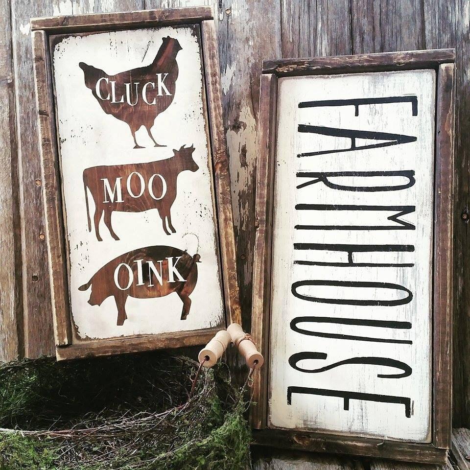 Farmhouse sign farmhouse decor cottage kitchen cluck moo for Kitchen decoration signs
