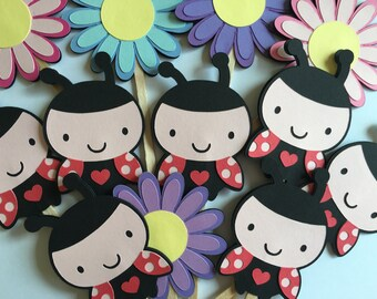 CLEARANCE - Ladybug cupcake toppers