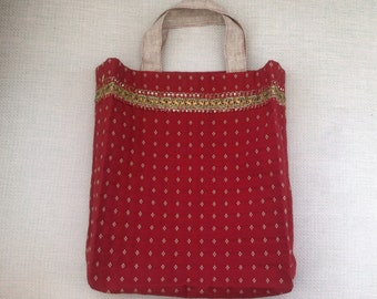 Handmade Heavyweight Shopping Bag with Lace Trim Terracotta and Gold