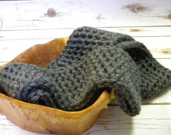 Handmade crocheted, dark gray charcoal grey, chunky thick yarn, infinity scarf, circle scarf, soft