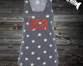 USA Red Glitter Merica Tank 4th of July America Tank, Eco, racerback flag tank, red, white and blue