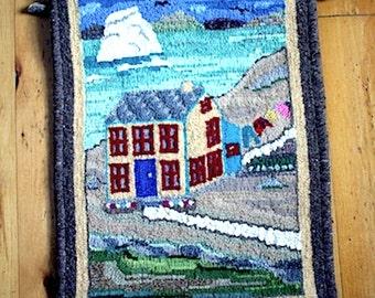 Hand Hooked Folk Art Mat/Rug - Outport House