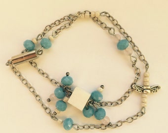 Blue and white double chain and link bracelet