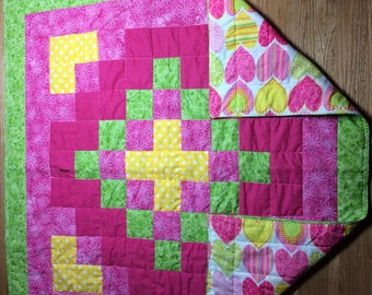 Handcrafted Baby Quilt, or Lap Quilt